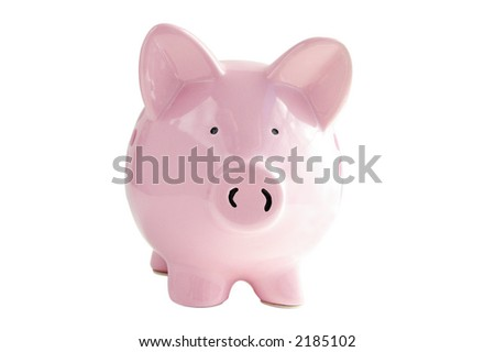 Piggy bank isolated on white with clipping path - stock photo