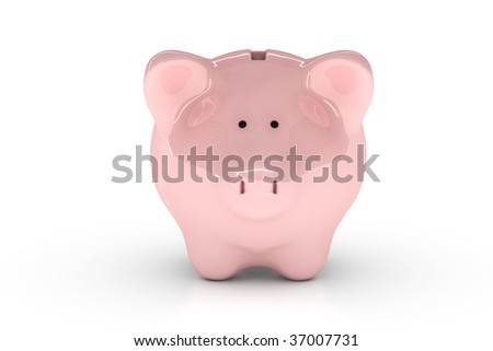 Piggy bank isolated over a white background.