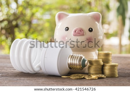 Piggy bank, lamps, coins helped prevent the use of energy, energy-saving concept. - stock photo
