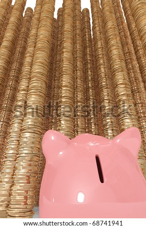 Piggy bank looking up at tall piles of coins - stock photo