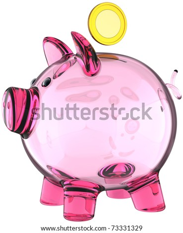 Piggy bank made from glass transparent colored pink with a golden coin over it. Money donate banking savings concept. This is a detailed three-dimensional render 3d. Isolated on white background - stock photo