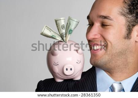 Piggy Bank Man - stock photo