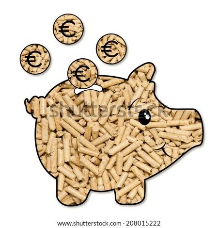 piggy bank of pellets, a symbol of energy-saving and of environmentally friendly alternative - stock photo