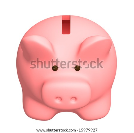Piggy bank of pink color. Object over white - stock photo