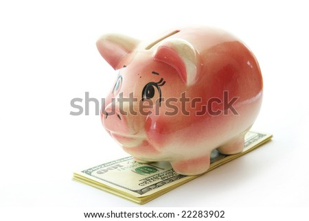 piggy bank on a  dollars