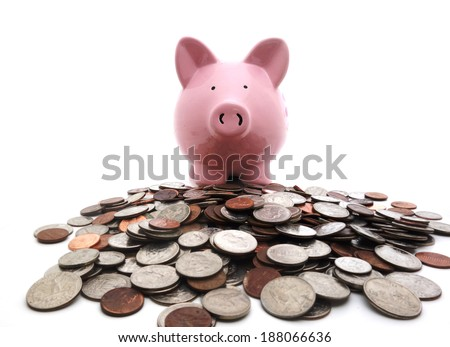 Piggy bank on a pile of coins                                - stock photo