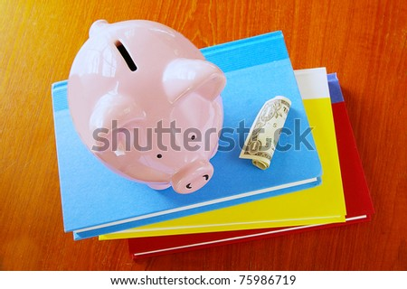piggy bank on book stack, with dollar - stock photo