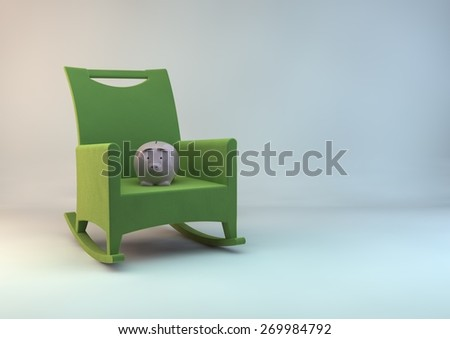 Piggy bank on chair - stock photo