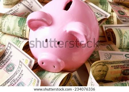 piggy bank on dollars. - stock photo