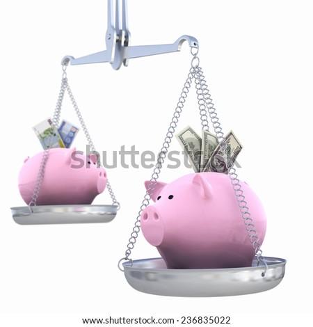 Piggy bank on scales. Dollar versus Euro - stock photo