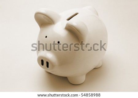 Piggy bank on seamless background - stock photo