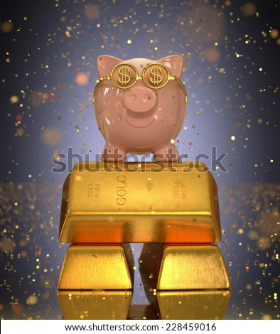 Piggy bank on top of gold ingots under rain of gold confetti. Concept of success in saving. - stock photo