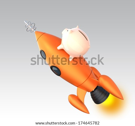 Piggy bank on vintage rocket concept for private fund grow up fast stock photo - Rocket ship piggy bank ...