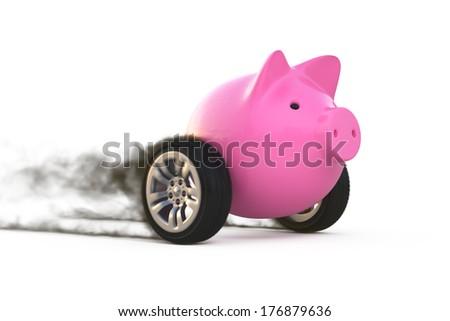 piggy bank on wheels - stock photo
