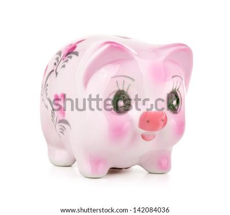 Piggy bank on white background.. - stock photo
