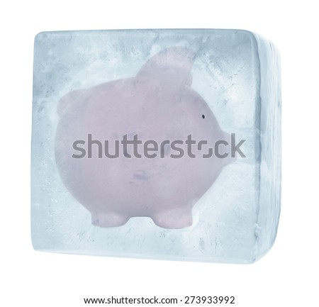 Piggy Bank on White Background in ice cube - frozen savings - stock photo