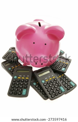 Piggy Bank on White Background with calculators