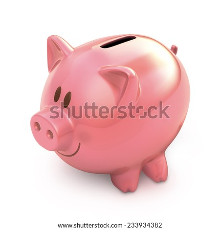 Piggy bank on white background with clipping path included.