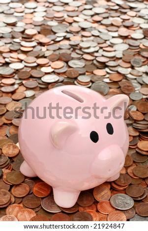 Piggy bank over coins - stock photo