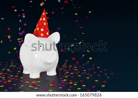 Piggy bank - party pig with confetti - stock photo
