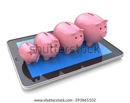 Piggy bank profit on a Tablet PC. Mobile bank, accounting, financial development, investments, and banking business concept - stock photo