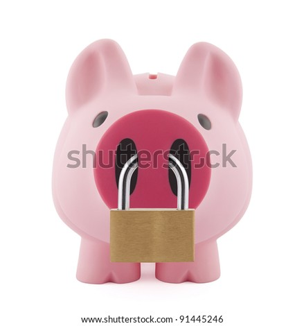 Piggy bank secured with padlock - stock photo