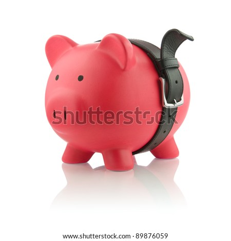 Piggy Bank Series - Financial Belt Tightening - stock photo