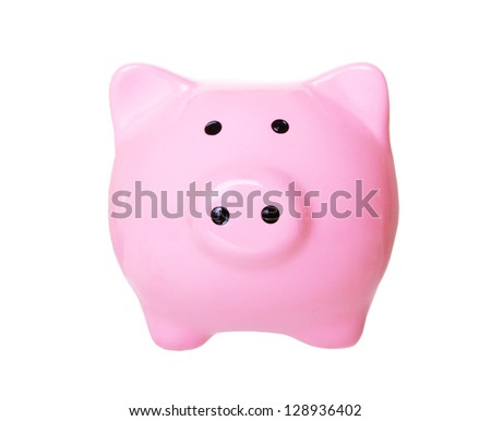 Piggy bank style money (front view) box isolated on a white studio background - stock photo