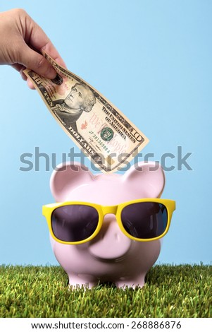 Piggy bank sunglasses grass, holiday money saving concept - stock photo