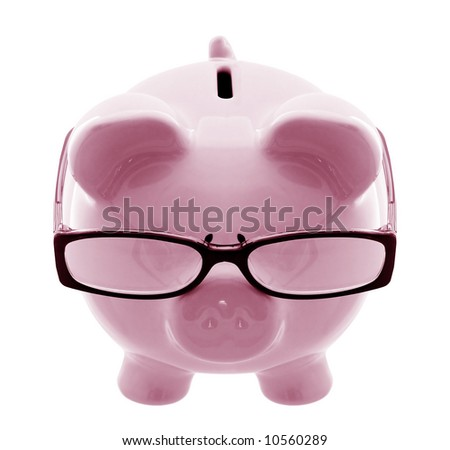 Piggy bank wearing spectacles - a thoughtful investor. - stock photo