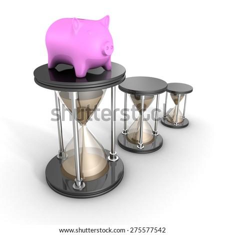 Piggy Bank White Hour Sandglasses. Time Is Money Concept 3d Render Illustration - stock photo