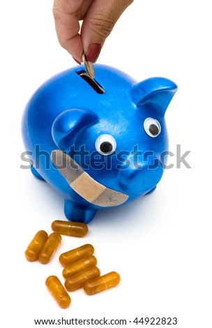 Piggy bank with a bandage over it on a white background, medication costs - stock photo
