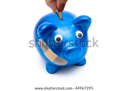 Piggy bank with a bandage over it on a white background, medication costs