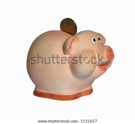 Piggy bank with a coin - stock photo