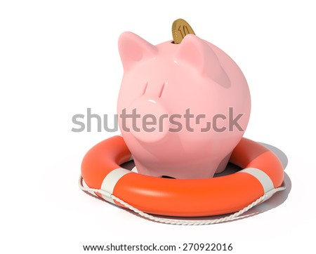 Piggy bank with a coin in the lifebuoy isolated on white.  - stock photo