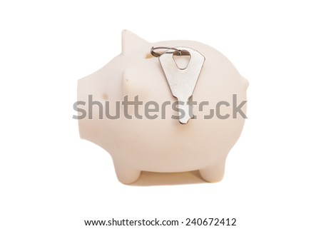 piggy bank with a key