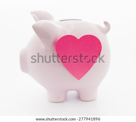 piggy bank with adhesive note Business financial and investment concepts - stock photo
