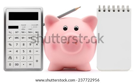 piggy bank with block note and calculator on white background - stock photo