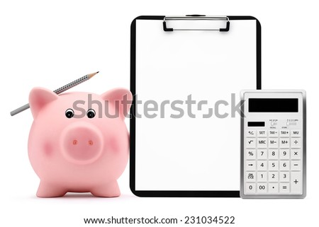 piggy bank with calculator pencil clipboard accounting concept and savings - stock photo