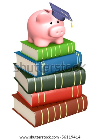 Piggy bank with cap and books - stock photo