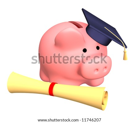 Piggy bank with cap and the diploma. Objects over white - stock photo