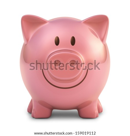 Piggy bank with clipping path included. - stock photo