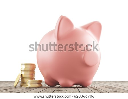 Piggy bank with coin or money, 3d render
