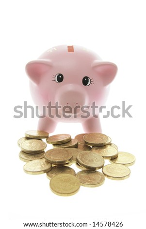 Piggy Bank with Coins on White Background