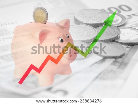 piggy bank with diagram and euro background - stock photo