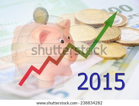 piggy bank 2015 with diagram and euro symbol - stock photo