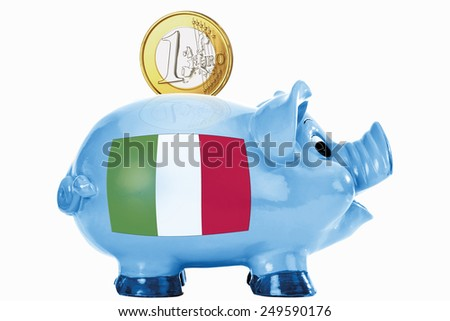 Piggy bank with 1 euro coin and italian flag - stock photo