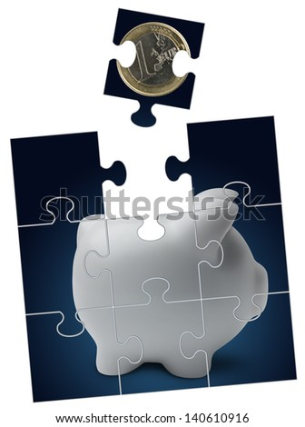 Piggy bank with euro coin into puzzle - stock photo