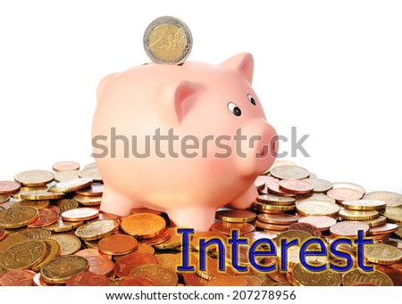 piggy bank with euro coins and interest