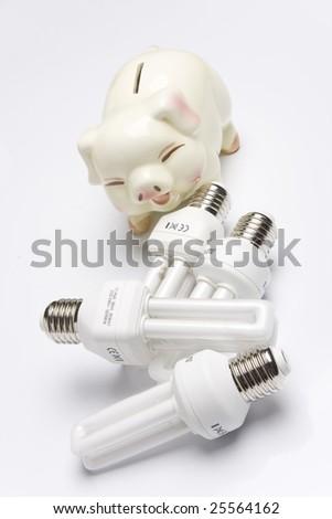 Piggy bank with fluorescent light bulb (smart energy). - stock photo